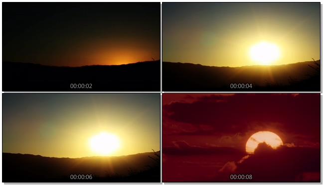 唯美梦幻的日出快速升起的实拍视频