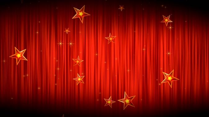 红色舞台星星背景视频