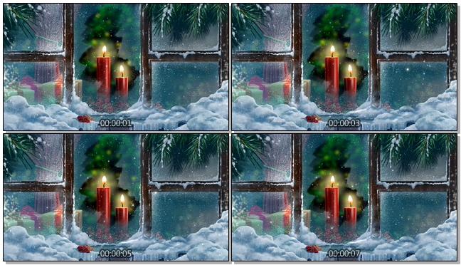 新年寒冬中蜡烛独自燃烧的视频素材