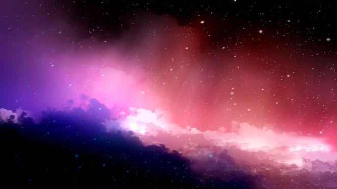 唯美梦幻的彩色星空雪花飘落的视频素材