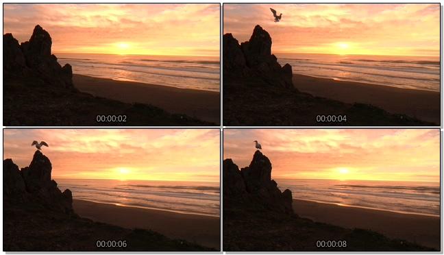 唯美悬崖夕阳背景视频素材