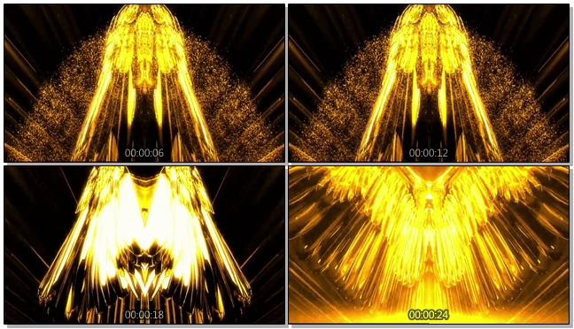 震撼大气的金色翅膀展开视频素材