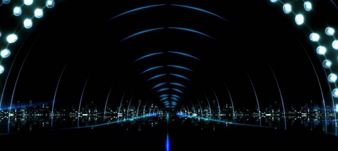 时尚唯美的灯光拱形隧道视频素材