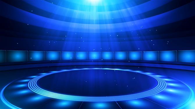 浪漫唯美的蓝色旋转圆形灯光舞台视频素材