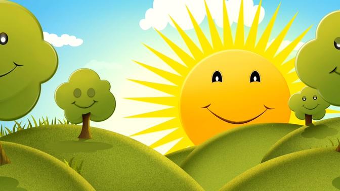 卡通树木太阳背景视频素材