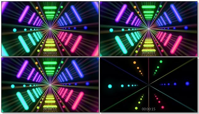 霓虹灯闪烁的梦幻隧道视频素材