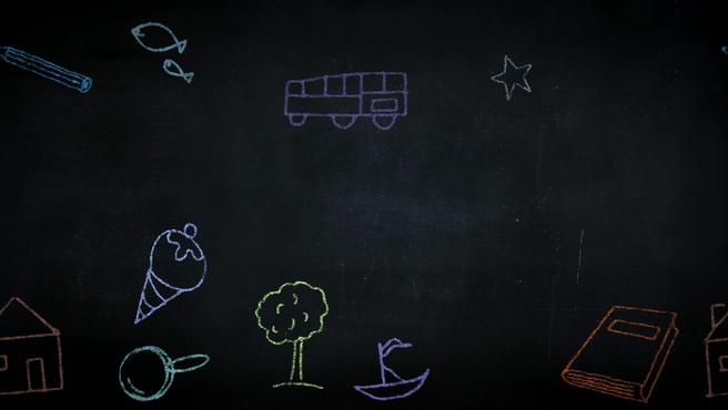 彩色铅笔黑板背景视频素材