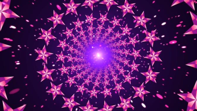 浪漫唯美的粉红色五角星形成隧道的视频素材