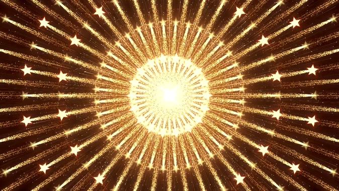 金色霓虹灯从中间散开的视频素材