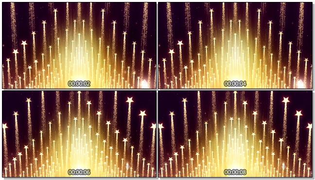 金色五角星霓虹灯冲上天空的视频素材