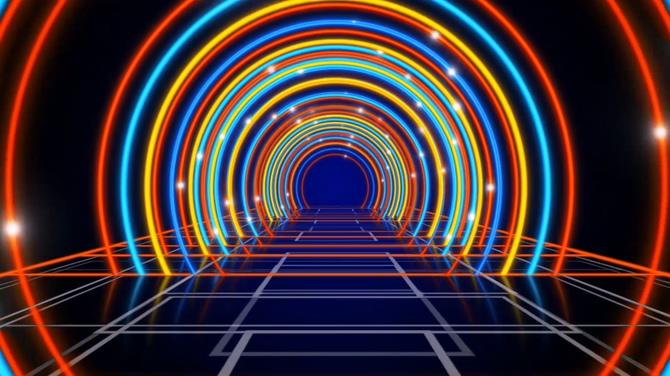 绚丽的霓虹拱形光线视频素材