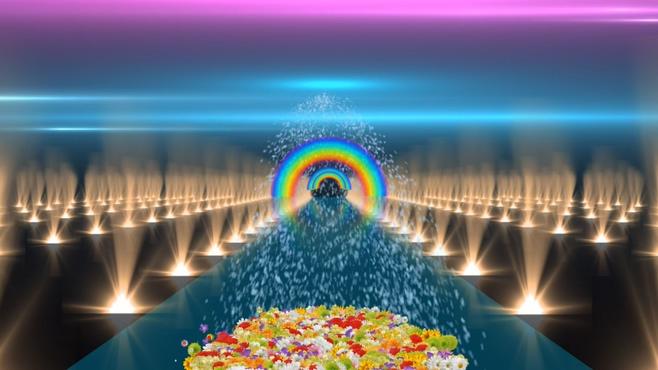 鲜花盛开经过彩虹道路的晚会开场视频素材