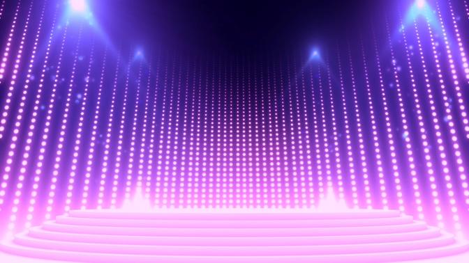 唯美梦幻的紫色瀑布灯光秀视频素材