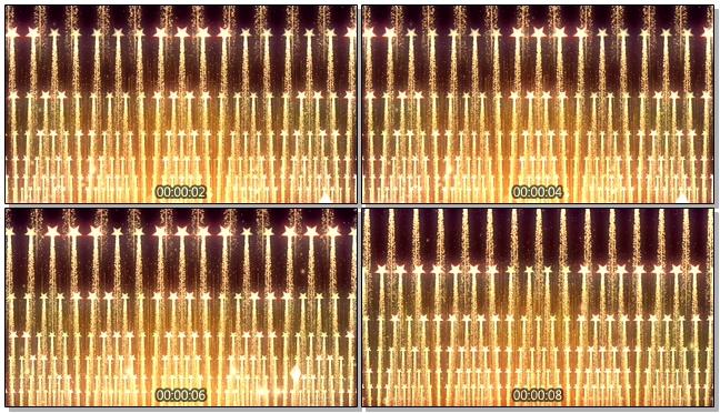 金色霓虹灯排列升空的视频素材