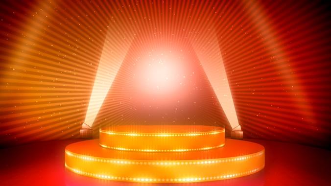 时尚大气的颁奖晚会双重圆形舞台灯视频素材