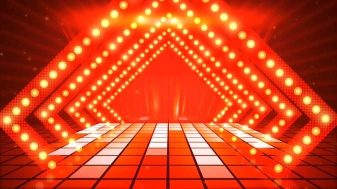 喜庆的大红色灯光舞台背景视频素材