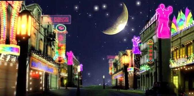 夜上海霓虹灯舞台背景视频素材