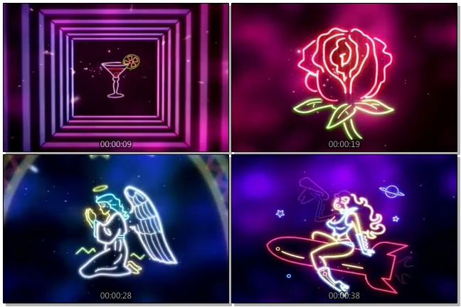 霓虹灯转换成各种物品的视频素材