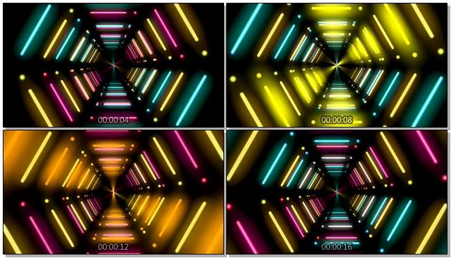 浪漫唯美的霓虹灯隧道视频素材