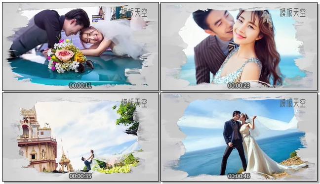 轻松欢快婚纱相册之中国风水墨画视频模板
