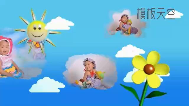 可爱的儿童卡通纪念电子相册会声会影X8模板