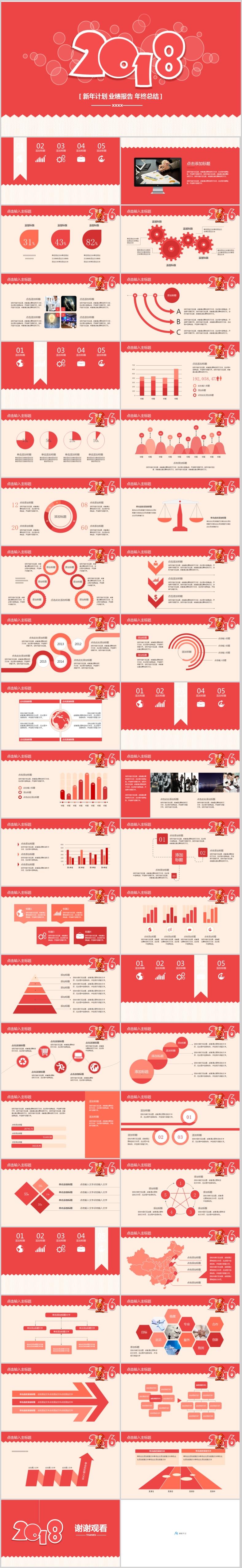 2018红色新年计划业绩报告年终总结PPT模板