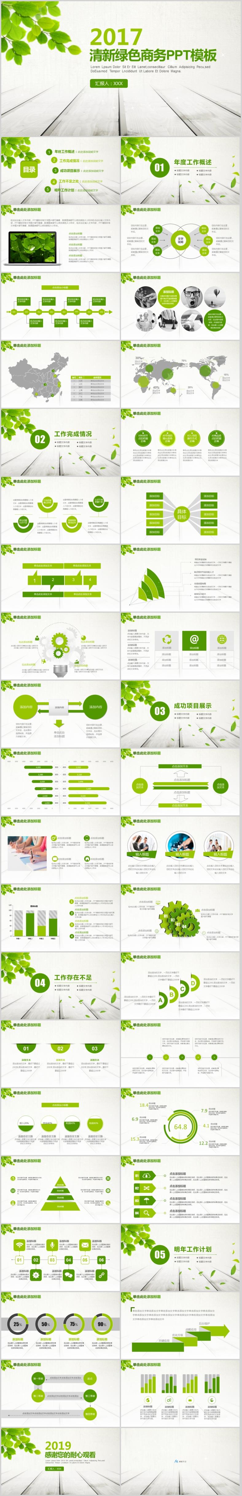 2018绿色清新的工作汇报商务项目介绍ppt模板