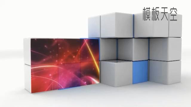 动感3D动态效果魔方开场视频片头相册模板