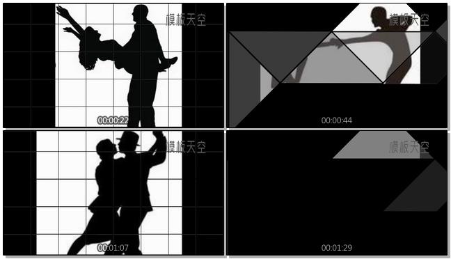 黑与白的艺术之轻快节奏舞蹈相册视频模板