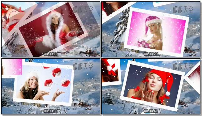 雪花下雪清凉会声会影视频相册模板