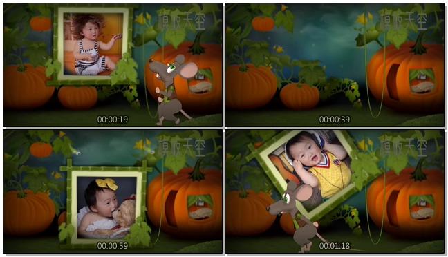 卡通小老鼠动画片风格儿童电子相册模板