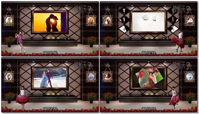 客厅电视墙展示婚礼照片爱情缘分电子相册视频模板