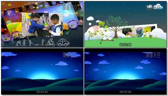 户外活动秋游春游儿童卡通电子相册视频模板