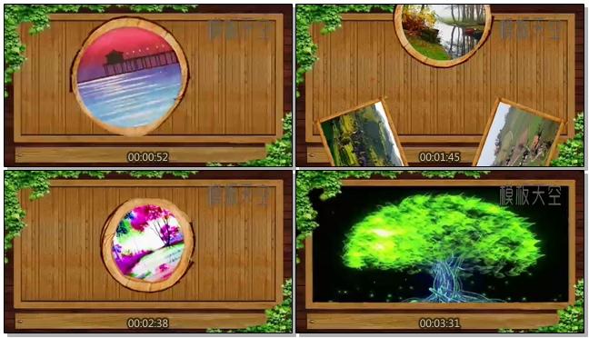 木墙上展示旅游风景相册视频模板