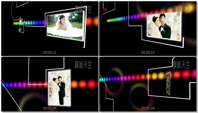 炫酷荧光线条路径电子相册视频模板