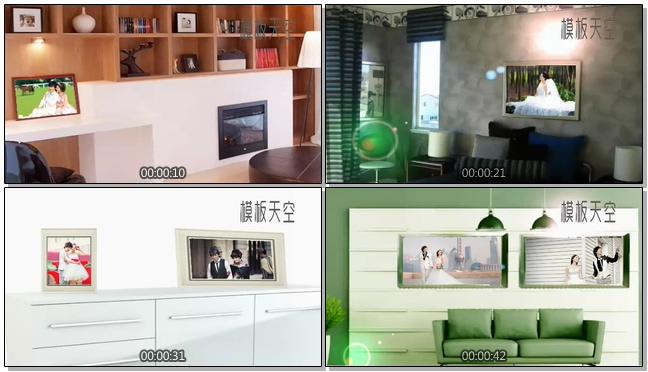 客厅电视墙上的照片展示3D婚纱相册视频模板
