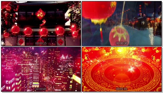 大气水墨风的狗年中国古代年味浓的春节背景视频素材