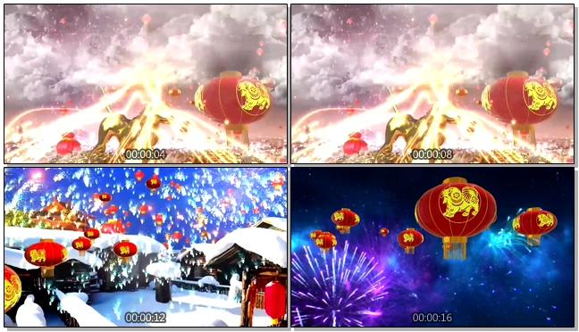 雪乡新年片头背景视频素材