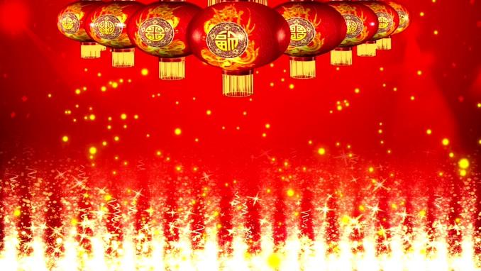 新年元旦灯笼瀑布背景视频素材
