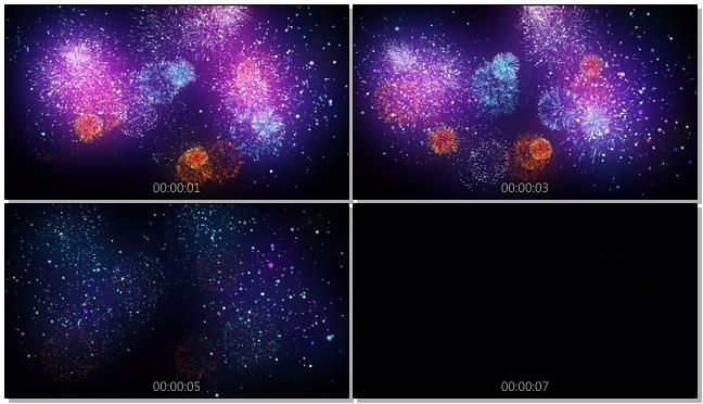 绚丽烟花夜景背景视频素材