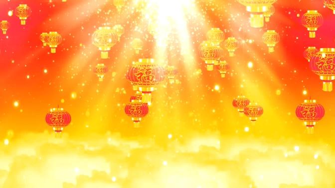 新年福字闪光灯笼背景视频素材