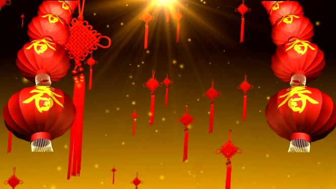 春节红色金色喜庆中国结背景视频素材