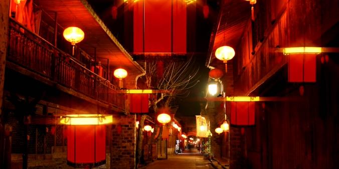 元宵灯笼街市新年演艺背景视频素材