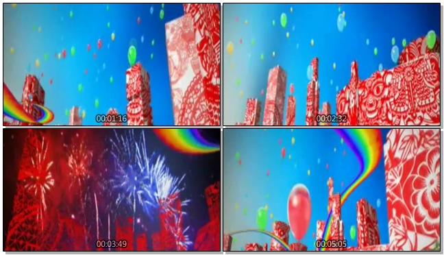 气球剪纸喜庆节日背景视频素材