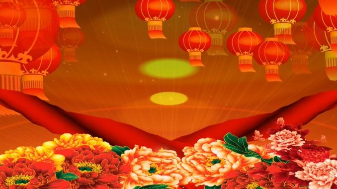 灯笼牡丹飘带背景视频素材
