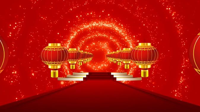 灯笼红地毯喜庆节日舞台背景视频素材