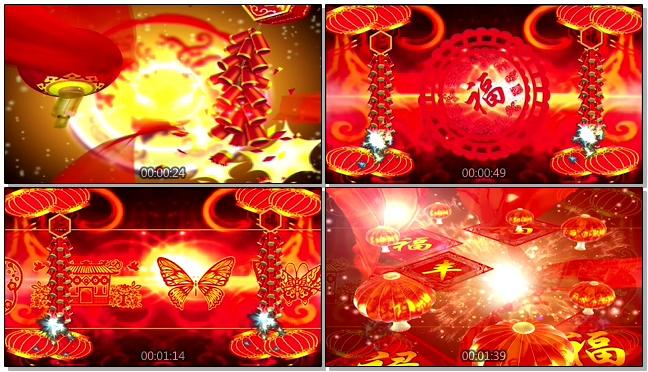 春节晚会火火的中国红灯笼背景视频素材