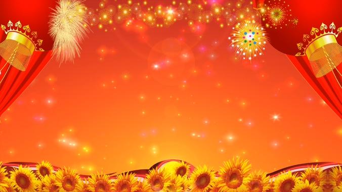 丰收时代大红灯笼向日葵背景视频素材