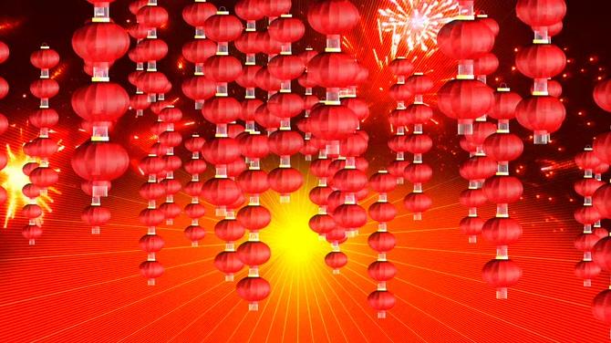 新年红灯笼串背景视频素材