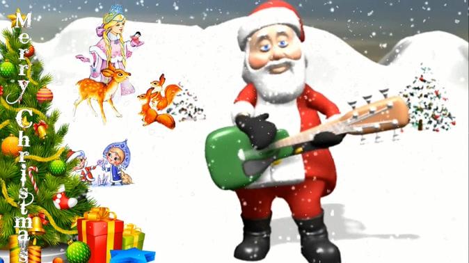 趣味圣诞老人弹吉他视频素材